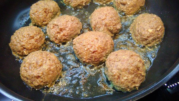 Chicken Heart Tuna Meatballs in Pan