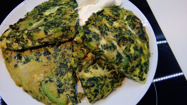 Avocado Omelette With Spinach & Cream and Cream Cheese