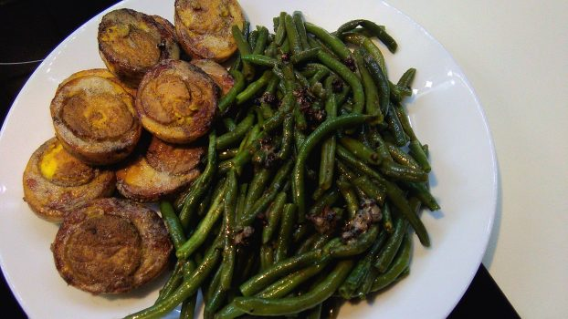 Fried Boiled Eggs with String Beans