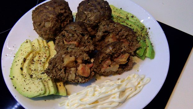 Shrimp Stuffed Meatballs with Avocado and Mayo