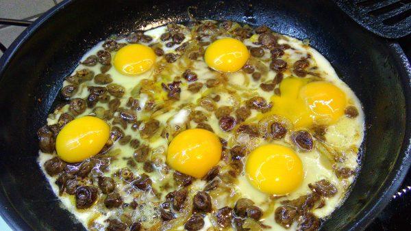 Crispy Chicken Hearts, Fried Onion & Eggs