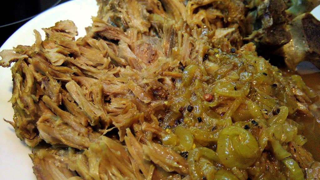 Pulled Pork Neck with Onion Gravy Close Up