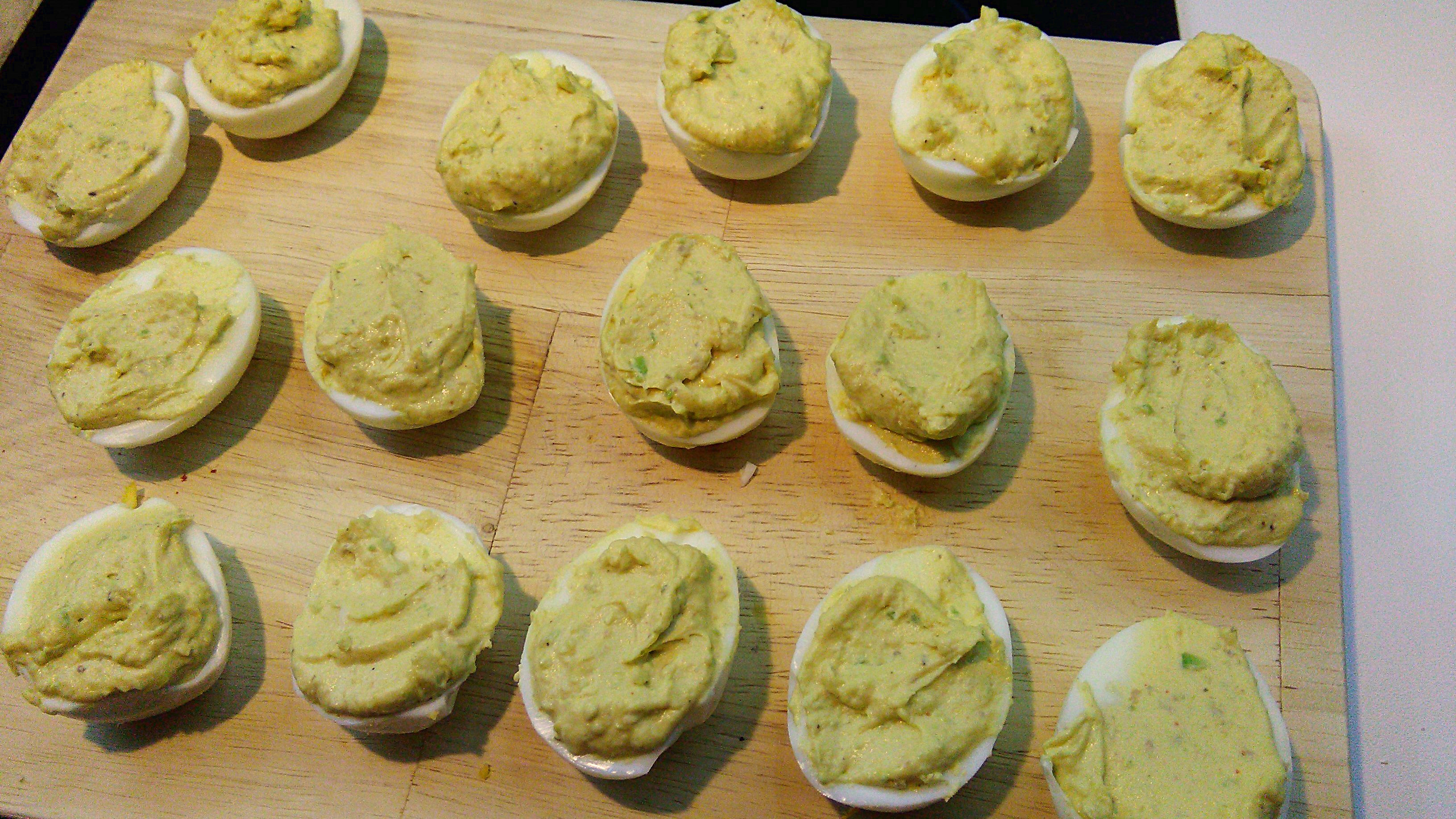 Avocado Deviled Eggs on Cutting Board