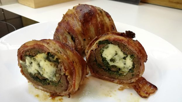 Bacon Wrapped Beef Liver Roulade