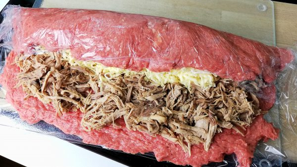 Wrapping Stuffed Meatloaf with Pulled Pork & Cheese